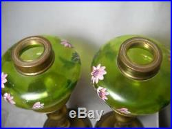 Pair Antique Peg Lamps Green Fonts with Hand Painted Enamel Flowers 22 Tall