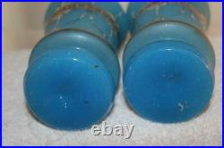 Pair Antique Victorian Hand Painted Blue Satin Glass Vases Gold Accents 8 tall