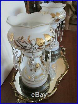 Pair Bohemian gold Trim & Leaves Mantel Lustre's Lamps & Prisms 14 tall
