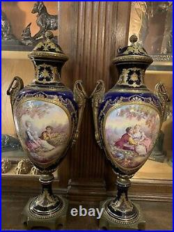 Pair French Sevres Porcelain Covered Urns, Hand Painted, Circa 1880 Tall