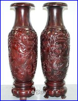 Pair Of Huge 105cm Tall Chinese Hand Carved Wood Cinnabar Dragon & Bird Vases