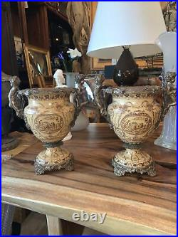 Pair Of bronze and porcelain urns cherub arms Hand Painted Vintage 13.5 Tall