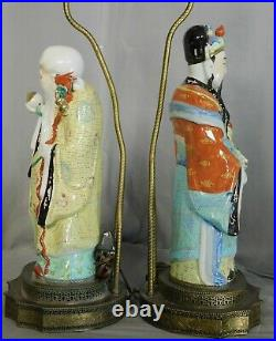 Pair Vintage Antique Chinese Porcelain Statues Lamps 36 TALL Hand Painted 1900s