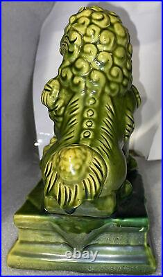 Pair Vintage Green Brown Glazed Pottery Chinese Foo Dog Statues 7. 1/2 Tall