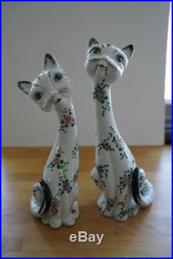 Pair Vintage Italian Pottery Hand Painted Tall Italy Mod LOVE CATS
