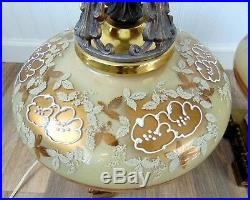 Pair of Vintage Hand painted Glass table lamps 30 tall Hollywood Regency