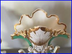 Pair of antique french vieux old paris porcelain hand painted vases 14 tall