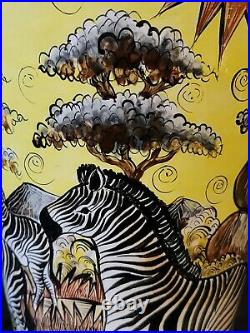 Penzo Zimbabwe Large 13 Tall Vase Hand Painted Signed Paison T Zebra Giraffe