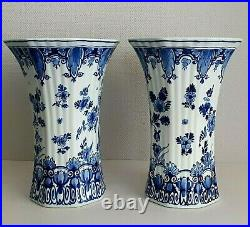 Porceleyne Fles Royal Delft Tall Cup Vase Hand Painted Excellent