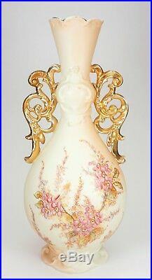 R W Rudolstadt Germany Hand Painted Florals Art Nouveau Tall Ornate Vase