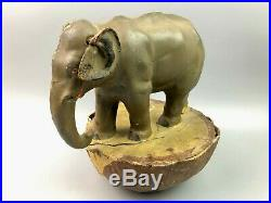 RARE Antique German Roly Poly Hand Painted Paper Mache Elephant 9.75 Tall Toy