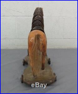 RARE Antique Hand Painted Wooden Horse Pull Toy Metal Wheels 15 Tall GREAT LOOK
