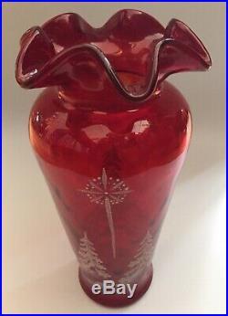 RARE Fenton 11 Tall Hand Painted Signed D. Caplinger Ruffled Vase Ruby Red EC