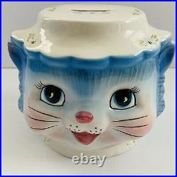 Rare 2003 Lefton Miss Priss Blue Kitty Hand Painted Coin Bank 4 5/8 Tall Htf
