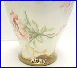 Rare Antique 11 1/4 Tall D&C Limoges France Hand Painted Day Lilies Vase