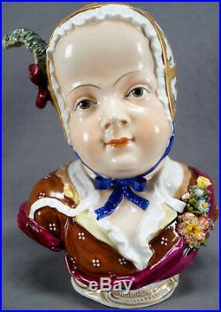 Rare Carl Thieme Dresden Hand Painted 9 Inch Tall Cherubic Female Child Bust