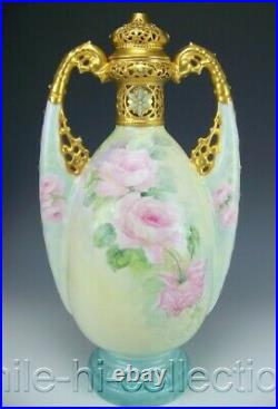Rare Germany Hand Painted Roses & Raised Jewels 15.5 Tall Handled Urn
