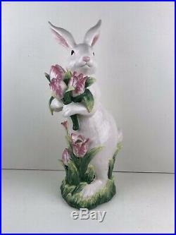 Rare Kaldun & Bogle Standing Rabbit With Tulips Large 19.5 Tall Hand Painted