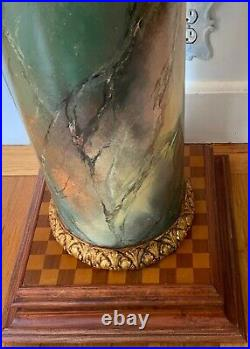Rare Mackenzie Childs Tall Pediatal Table with Watercolor Scenes Hand Painted