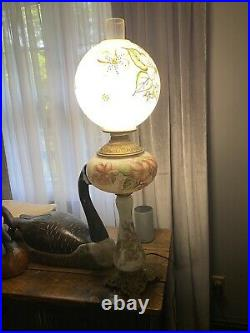 Rare Tall Vintage GWTW Hand Painted Hurricane Style Table Lamp 3-Way Lighting