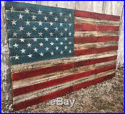 Reclaimed Pallet American Flag 56 Wide X 34 Tall Extra Large