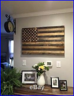 Reclaimed pallet american flag hanging wall art 40 wide x 26 tall natural