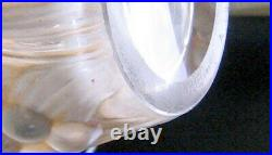 Rene Lalique 1928 Sculpted Raisins Vase withPatina. Signed. 6 Tall. VG Cond