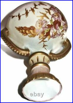 Royal Worcester Hand Painted Vase or Ewer with Two Handles, 7 1/2 Tall, Floral