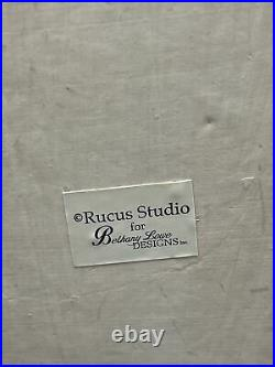 Rucus Studio for Bethany Lowe Designs Santa Claus Gnome Paper Mache 13 Tall