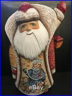 Russian SANTA Father Frost Wooden Hand Carved Hand Painted 10 3/4 tall Signed