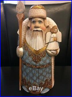 Russian SANTA Father Frost Wooden Hand Carved Hand Painted 10 tall Signed