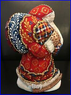 Russian SANTA Father Frost Wooden Hand Carved Hand Painted 7.5 tall Signed
