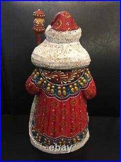 Russian SANTA Father Frost Wooden Hand Carved Hand Painted 9.5 tall Signed