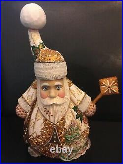 Russian SANTA Father Frost Wooden Hand Carved Hand Painted Signed 9in. Tall