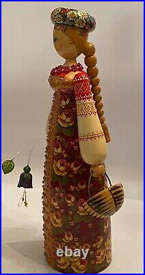 Russian Wooden Doll Hand Painted and Signed 10 Tall