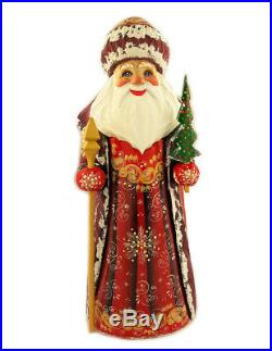 Russian Wooden Hand Painted Santa Claus Figurine 9 Inch tall Christmas