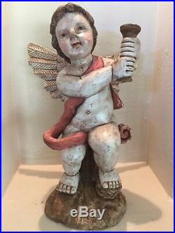 SANTOS VINTAGE STYLE HAND PAINTED AND CARVED WOOD ANGEL CHERUB With WINGS 17TALL