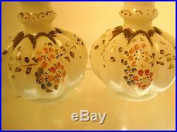 SET 1940s FENTON GOLD CREST MILK GLASS MELON PERFUME BOTTLES 9TALL HAND PAINTED