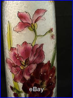 STUNNING ART NOUVEAU ART GLASS TALL ACID ETCHED & ENAMELED VASE, c. 1900