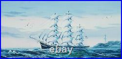 Schooner tall Ship Hand Painted Original Oil Painting by K. Maskell Sail waves