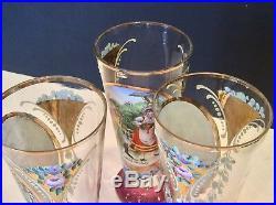Set Antique Tall Bohemian Czech Enamel Blown Art Glass Pitcher 5 Footed Goblets