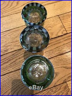Set Of 3 Mackenzie Childs 6 Tall Hand Painted Heavy Glass Tumblers Glasses