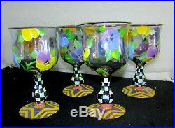 Set Of 4 Mackenzie Childs Pansies Pattern Circus Tall Water Goblets Glasses