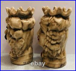 Sicilian Pottery-set Of 2 Teste Di Moro 5inch Tall. Made/Painted by hand in Italy