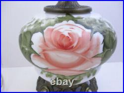Signed Hand Painted Pink Rose Hurricane Gwtw Parlor Lamp -3way 24 Tall(bnd)