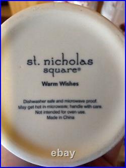 St Nicholas Square Warm Wishes Tall Coffee Mug Cup Snowman Christmas Hand Paint
