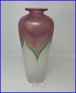 Stuart ABELMAN 1983 Signed Hand Blown Glass Vase Pulled Feather Down Pink Tall