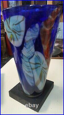Studio Art Glass Floor Vase Extra Large 16 Tall Mottled Spattered Hand made