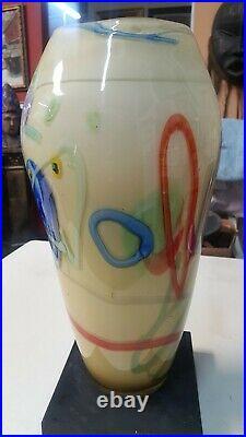 Studio Art Glass Floor Vase Extra Large 17 Tall Mottled Spattered Hand made