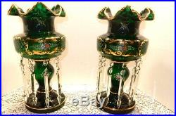 Stunning Bohemian Green Glass Mantle Lusters Candle Holders, 15 Tall